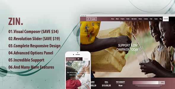 Zin - Multipurpose Nonprofit Theme            TFx