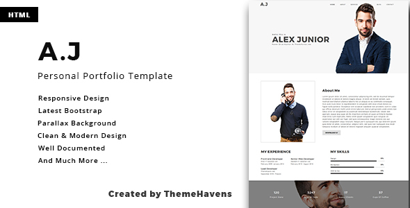 A.J - Personal One Page Portfolio Template            TFx