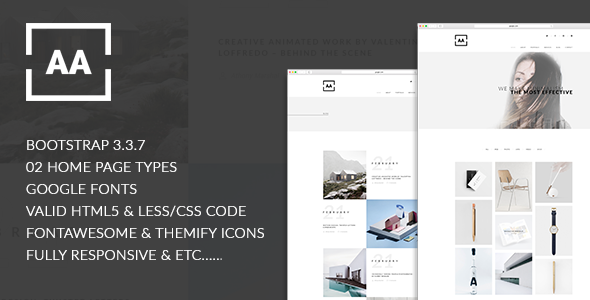 AA - Creative, Minimal, Stunning Designed Responsive HTML5 Portfolio Template            TFx