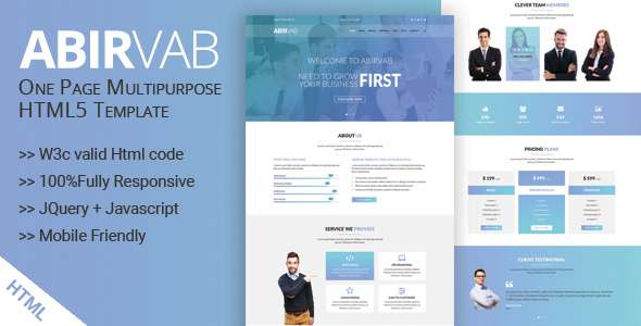 ABIRVAB - One Page Multipurpose HTML5 Template            TFx