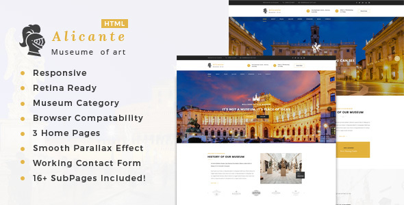 Alicante – Museum & Exhibition HTML Template            TFx Harris Gavin