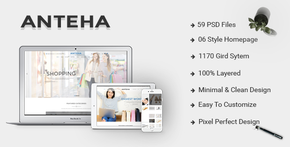 Anteha - Clean & Minimal multipurpose PSD template            TFx