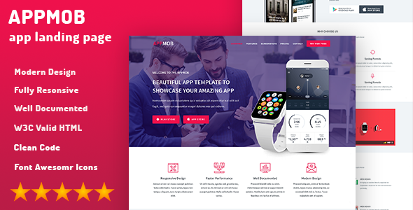 App Landing Page & App Showcase - APPMOB            TFx