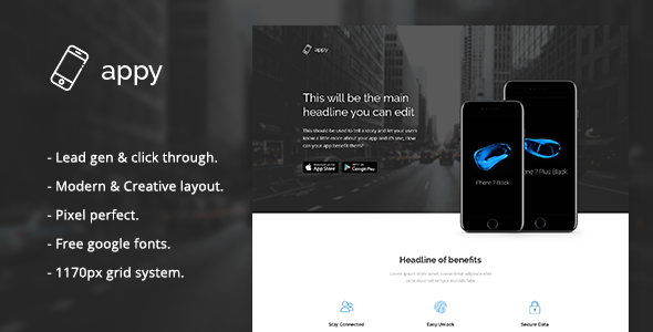 Appy - App Landing Page PSD Template            TFx
