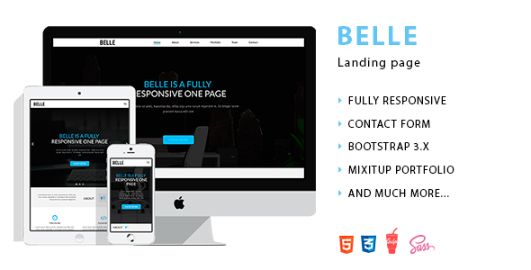 Belle - Landing Page HTML Template            TFx