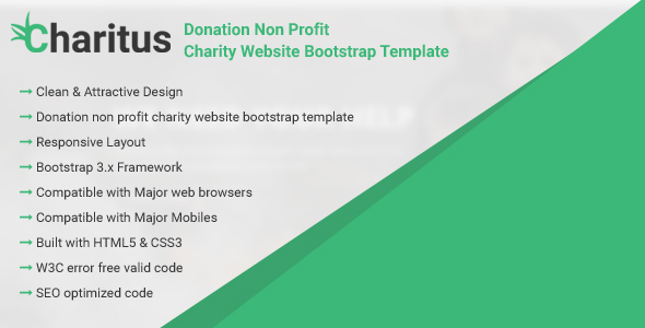 Charitus - Donation Non Profit Charity Website Bootstrap Template            TFx