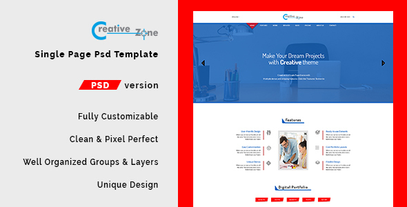 Creative Zone - Single Page PSD Template            TFx Rafe Cambyses