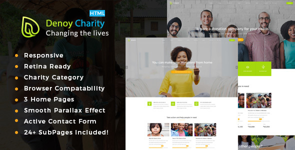 Denoy || Responsive HTML Template for Charity & Fund Raising            TFx