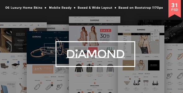 Diamond - Multi-Purpose Luxury Ecommerce PSD Template            TFx