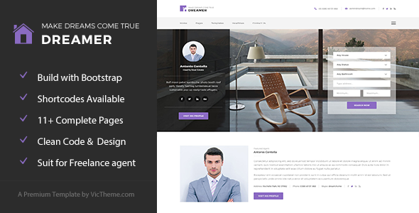 Dreamer - Freelance Property Agent HTML Template            TFx