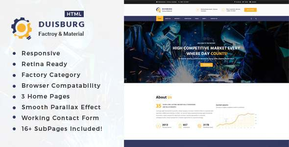 Duisburg – Factory & Industrial Business HTML Template            TFx Nik Charley