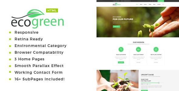 Ecogreen - Environment / Non-Profit HTML Template            TFx