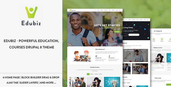 Edubiz - Powerful Education, Courses Drupal 8 Theme            TFx