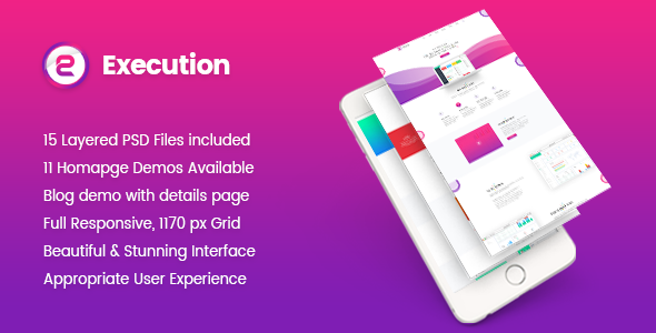 Execution – Material App Landing & Product Showcase PSD Template            TFx Louis Julius