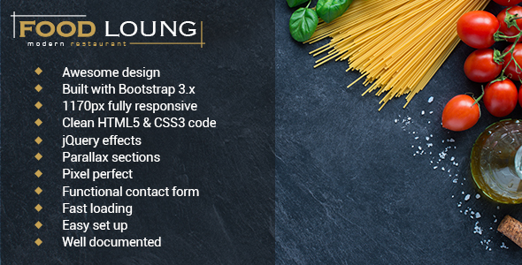 FOOD LOUNG - Restaurant Website Template            TFx