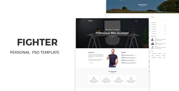 Fighter - Personal Portfolio PSD Template            TFx