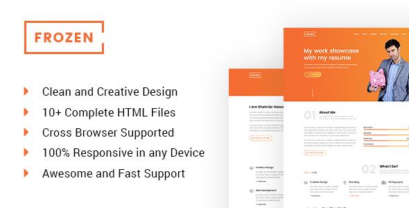 Frozen - Frelancer Minimal Portfolio HTML5 Template            TFx