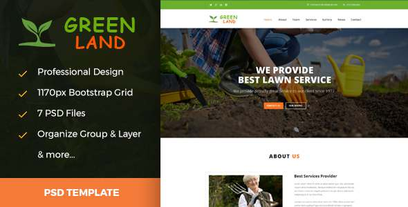 Greenland - Garden & Landscaping PSD Template            TFx
