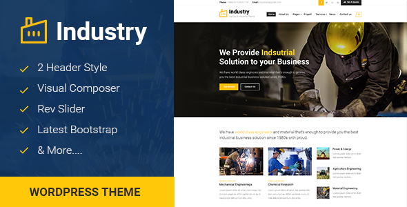 Industry - Factory & Industrial Business WordPress Theme            TFx