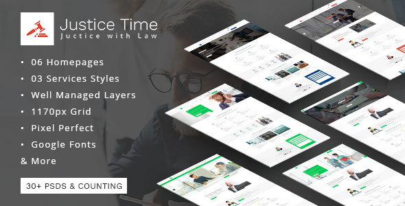 Justice Time - Law Firm and Lawyer PSD Template            TFx