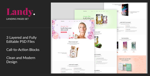Landy — Product Promotion Landing Page PSD Template            TFx