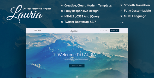 Lauria - One Page Responsive Template            TFx Tim Gary