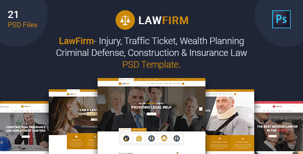 Law Firm - Injury, Traffic Ticket,Wealth Planning,Defense, Construction & Insurance Law PSD Template            TFx
