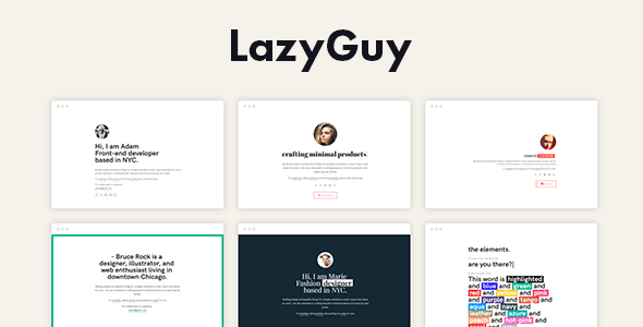 LazyGuy - Personal Landing Page Template for Everyone            TFx Trenton Bristol
