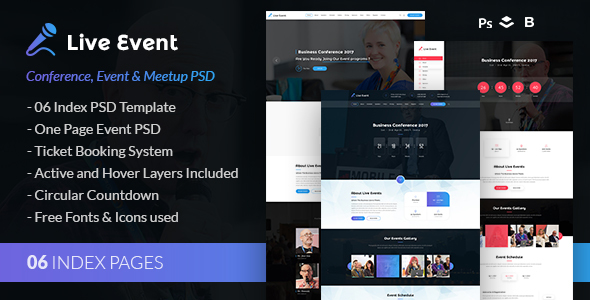 Live Event - Conference, Event & Meetup PSD Template            TFx