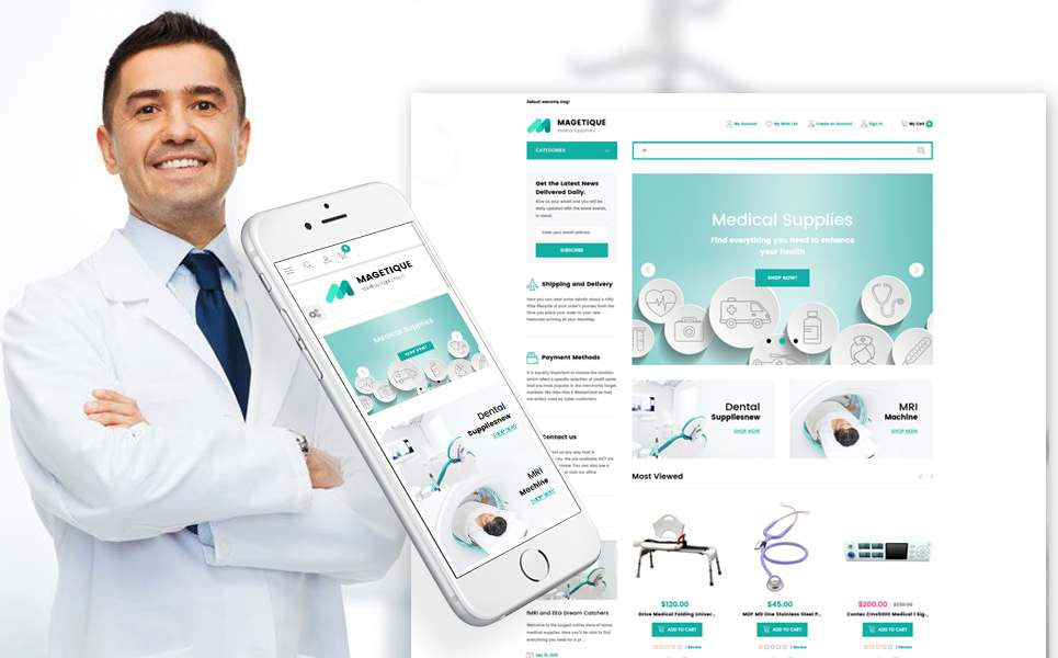 Magetique – Medical Equipment Store Responsive Magento 2 Theme TMT Preston Phil