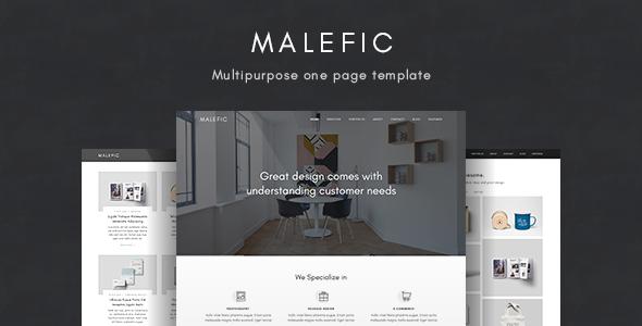 Malefic - Multipurpose One Page HTML5 Template            TFx Benson Nic