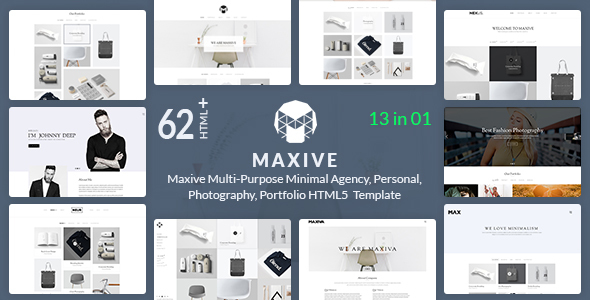 Maxive Multi-Purpose Minimal Agency, Personal, Photography Portfolio HTML5 Template            TFx