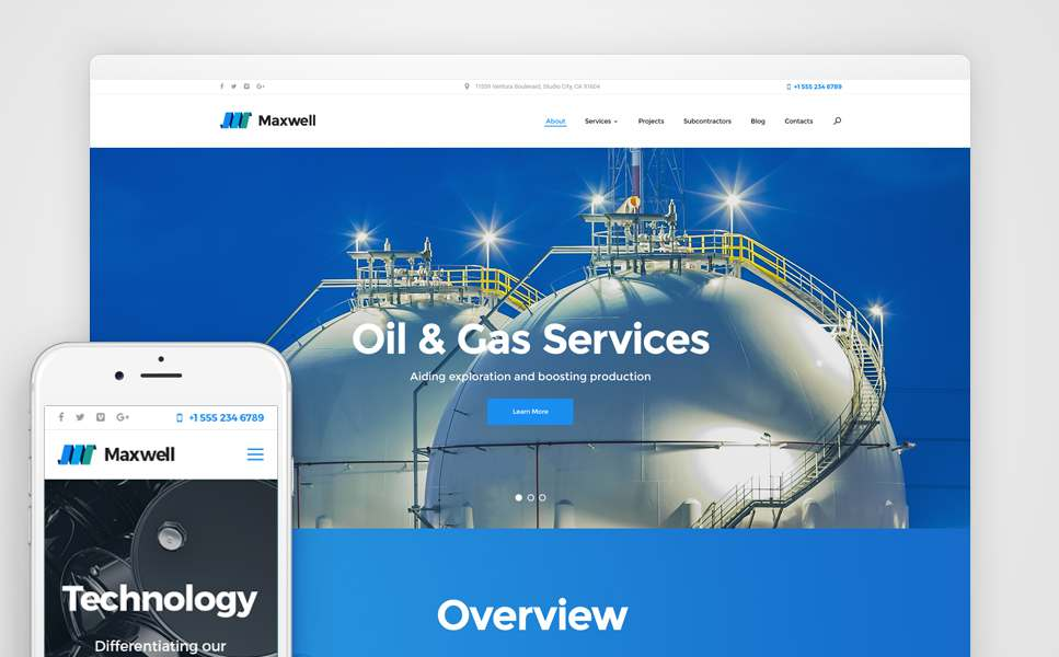 Maxwell – Oil & Gas Company Responsive WordPress Theme TMT Bud Eliot