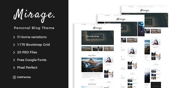 Mirage - Personal Blog PSD Template            TFx