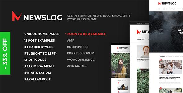 Newslog - Clean News & Magazine WordPress Theme            TFx