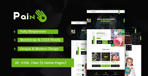 Pain – Charity & Fundraise Non-profit HTML Template            TFx Sevan Terrence