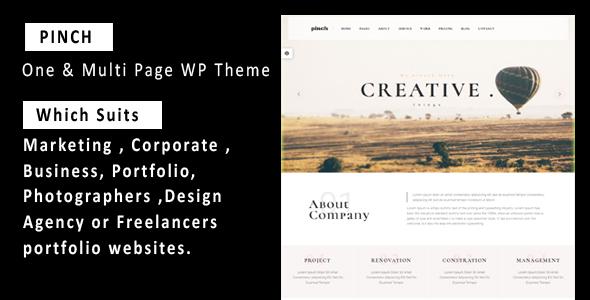 Pinch - One & Multi Page Responsive WordPress Theme            TFx