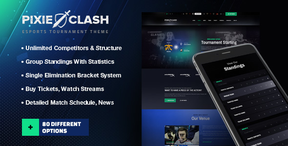 PixieClash - eSports gaming theme for tournaments & competitions            TFx