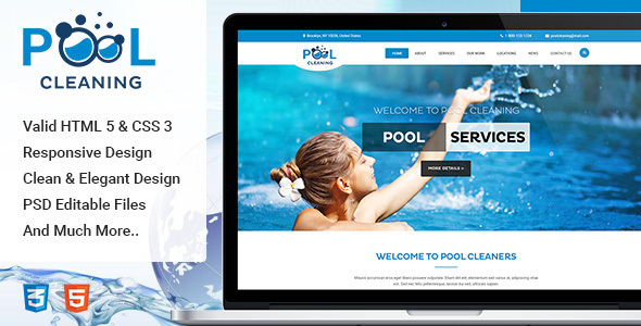 Pool – Cleaning, Construction, Repair and Maintenance Services HTML Template            TFx