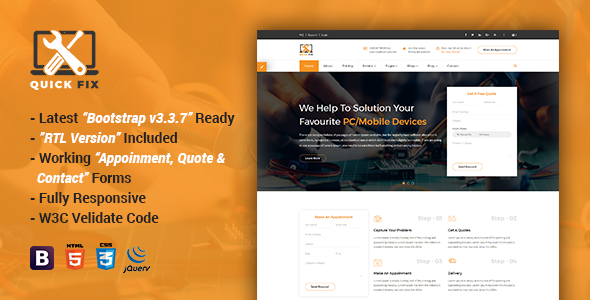 QuickFix | Multipurpose Servicing and Repairing HTML Template            TFx Shichiro Pépin