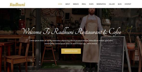 Radhuni – Restaurant & Cofe HTML Template            TFx Shiori Souma