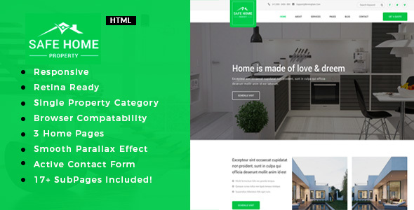 Safehome | Real Estate Single Property HTML5 Template            TFx Sheridan Rodolph