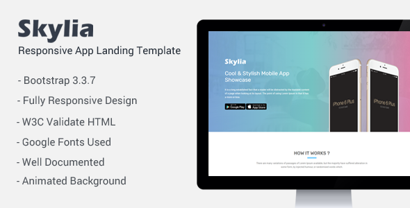 Skylia – Responsive App Landing Template            TFx Greyson Esme