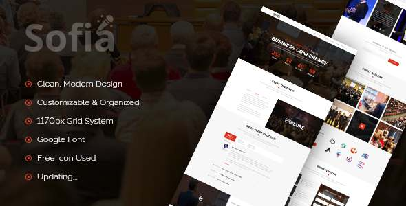 Sofia – One Page Event Conference PSD Template            TFx Chile Ivan