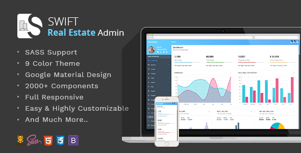 Swift Real Estate - Bootstrap/Material Dashboard Template            TFx