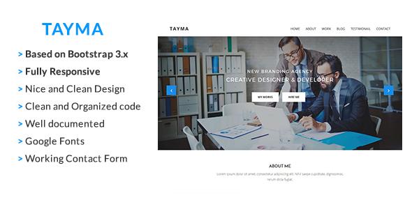 Tayma Resume & Minimal Portfolio Responsive HTML Template            TFx Darnell Hadyn