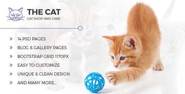The Cat - PSD Template for Pet Shop and Care Organisations            TFx Dell Wahyu