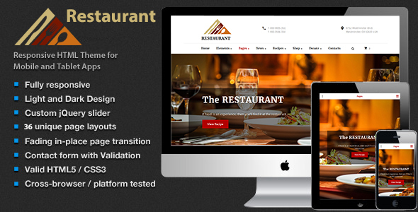 The Restaurant – Shop Cafe & Food HTML5 Template            TFx Branson Blaine
