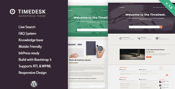 TimeDesk - Responsive Knowledge Base FAQ WordPress Theme            TFx
