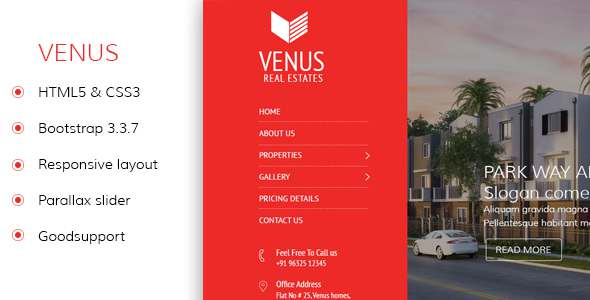 Venus - Real Estate Responsvie HTML Template            TFx